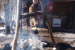 Boiling sap for taffy at Sweetwater
