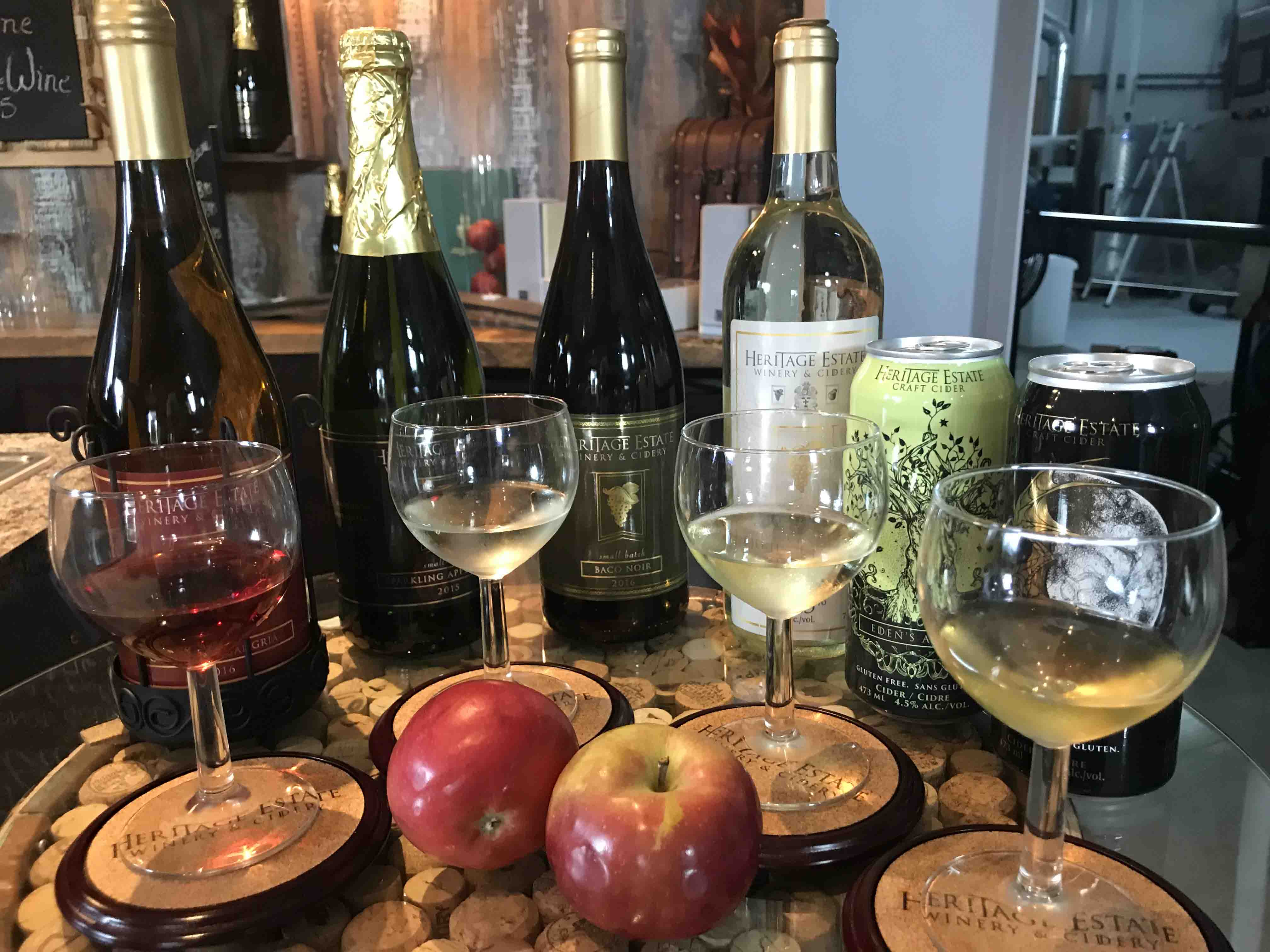 A fine selection of Ciders at Heritage Estate Winery Cidery copy - A Sweet Treat Tour Of Ontario's Lake Country